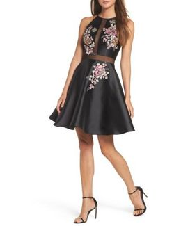Embroidered Mikado Party Dress