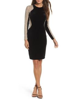 Caviar Bead Mesh Velvet Body-con Dress