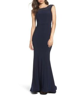 Beaded Ruffle Back Jersey Trumpet Gown