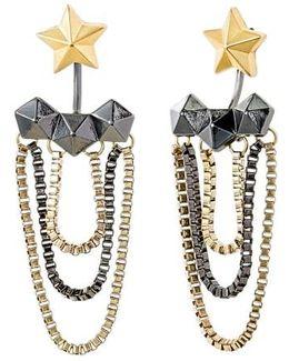 Star Hexagon Tassel Drop Earrings