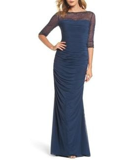 Embellished Mesh Ruched Jersey Gown