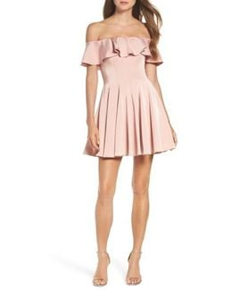 Ruffle Off The Shoulder Fit & Flare Dress