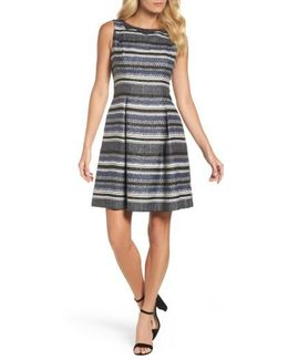 Herringbone Stripe Fit & Flare Dress