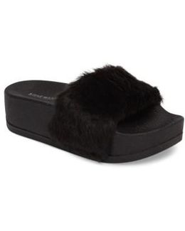 Softey Faux Fur Platform Slide