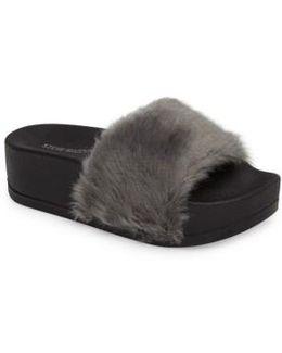 Softey Faux Fur Platform Slide