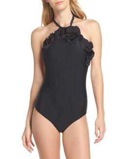 Flower Applique One-piece Swimsuit