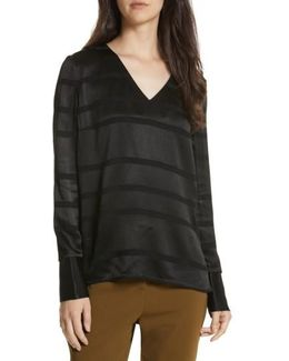 Genina Stripe V-neck Top