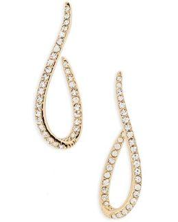 Citron J Hoop Crystal Drop Earrings