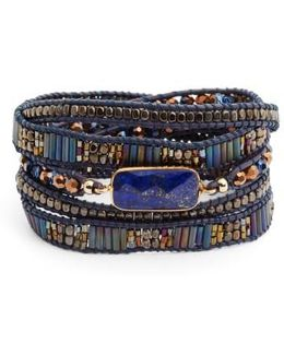 Lapis & Leather Wrap Bracelet