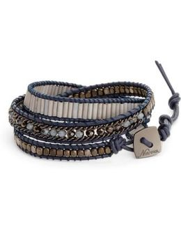 Leather & Crystal Wrap Bracelet
