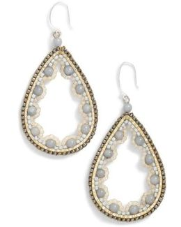 Beaded Agate Teardrop Earrings