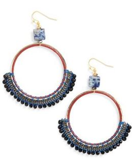 Bachubai Crystal & Chain Hoop Earrings