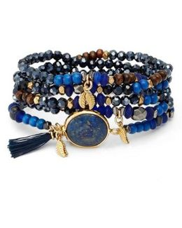 Crystal & Lapis Stretch Bracelet