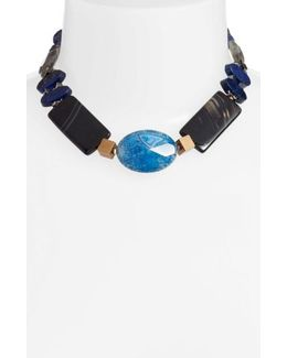 Chunky Agate & Lapis Short Necklace