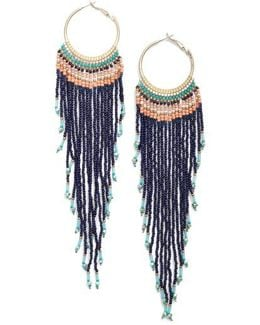 Aban Beaded Tassel Hoop Earrings
