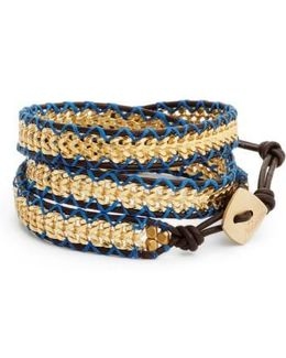 Chain & Leather Wrap Bracelet