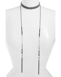 Semiprecious Stone Multistrand Lariat Necklace