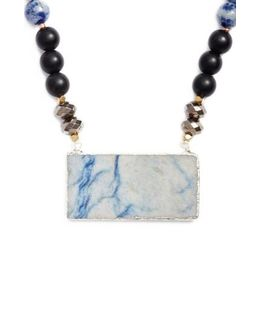 Agate Rectangle Short Pendant Necklace