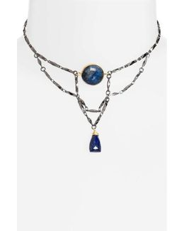 Borzoo Layered Choker With Lapis Pendants