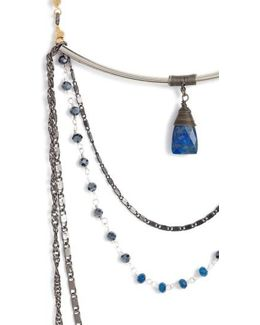 Layered Chain & Crystal Necklace With Lapis Pendant