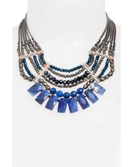 Semiprecious Stone Beaded Fringe Collar Necklace