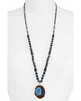 Long Agate Pendant Necklace