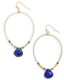 Tiny Lapis Drop Earrings