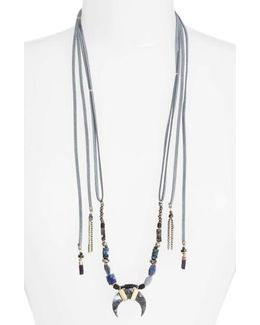 Umangi Lariat Necklace With Agate Pendant