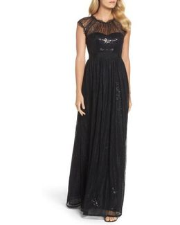 Sequin Chantilly Lace Gown