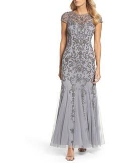 Beaded Godet Trumpet Gown