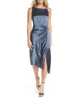 Ruched Satin Sheath Dress