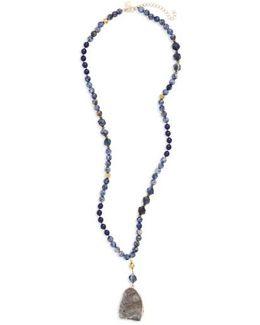 Stone Sunstone Pendant Necklace