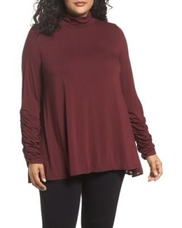 Pleated Bell Sleeve High/low Shirt