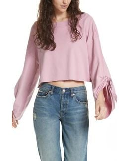 Holala Statement Sleeve Crop Sweatshirt