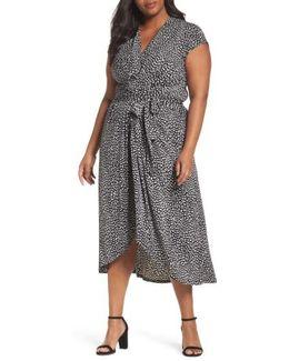 Cheetah Wrap Midi Dress