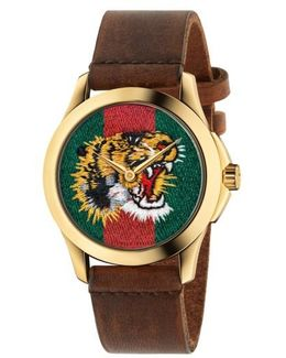 Tiger Leather Strap Watch
