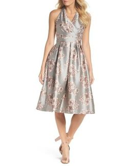 Metallic Floral Fit & Flare Dress