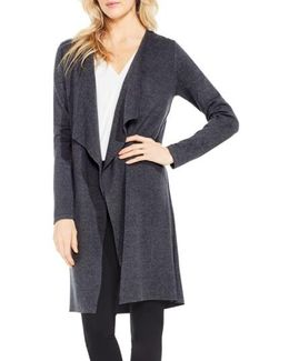 Drape Front Long Cardigan