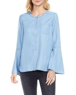 Bell Sleeve Chambray Blouse