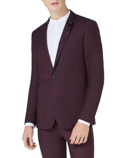 Skinny Fit Plum One-button Suit Jacket