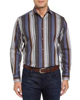 Multicolor Stripe Herringbone Sport Shirt