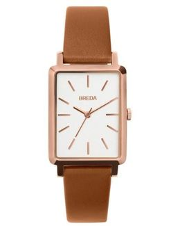 Baer Rectangular Leather Strap Watch