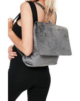 Croc Embossed Velvet Backpack