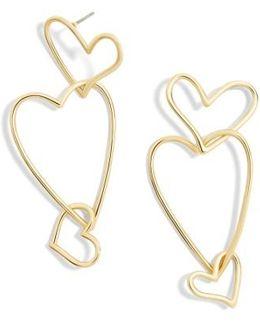Minimal Heart Drop Earrings
