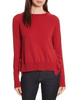 Cashmere Side Ruffle Sweater