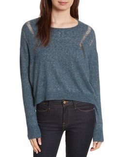 Boxy Ladder Stitch Cashmere & Silk Sweater