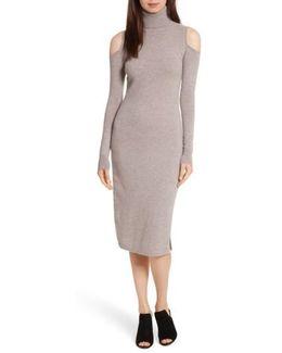 Cashmere Cold Shoulder Turtleneck Dress