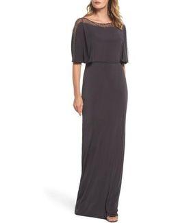 Cape Illusion Crepe Gown