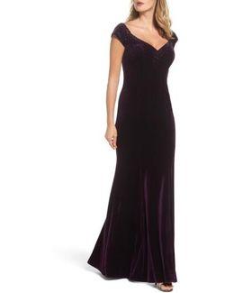 Sweetheart Rhinestone Velvet Gown