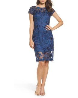 Illusion Detail Lace Sheath Dress